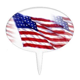 Waving US Flag Cake Topper