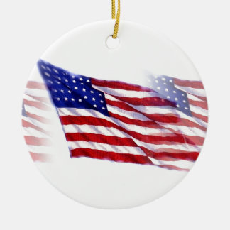 Waving US Flag Ceramic Ornament