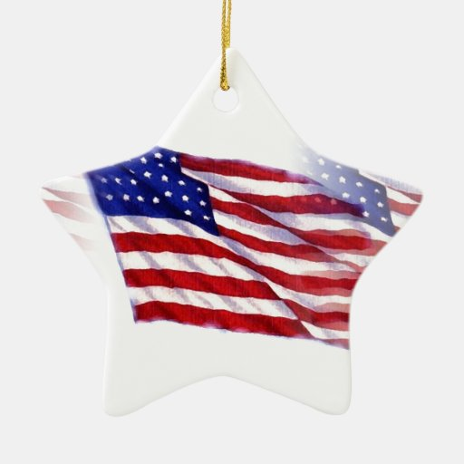 Waving US Flag Christmas Ornaments