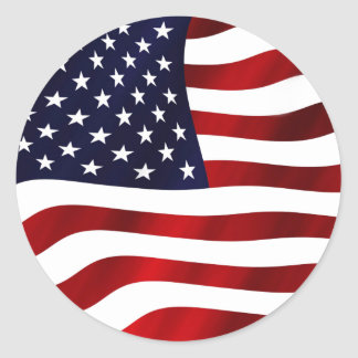 Waving US Flag Classic Round Sticker