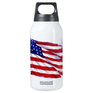 Waving US Flag Insulated Water Bottle