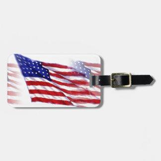 Waving US Flag Tags For Luggage