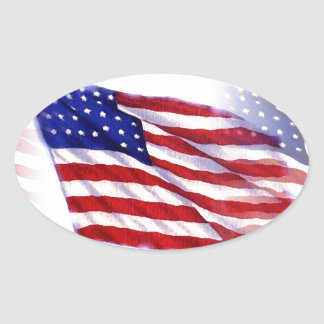 Waving US Flag Oval Sticker