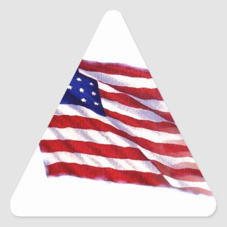 Waving US Flag Triangle Sticker