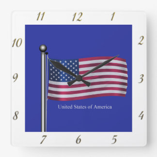Waving USA Flag Wallclock