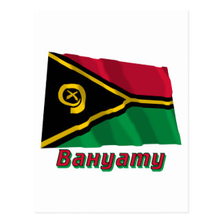 Waving Vanuatu Flag with name in Russian Postcard