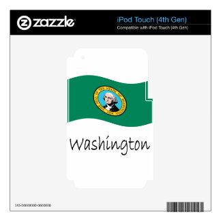 Waving Washington Flag And Name Skin For iPod Touch 4G