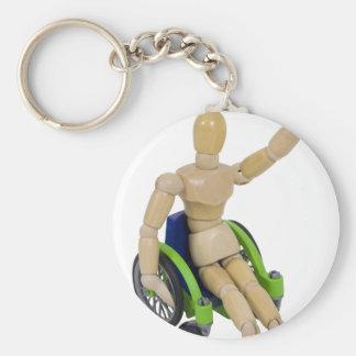 WavingInWheelchair013110 Key Chains