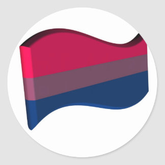 Wavy 3D Bisexual Pride Flag Classic Round Sticker