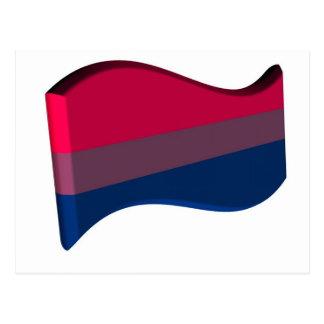 Wavy 3D Bisexual Pride Flag Postcard