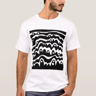 Wavy Abstract Black and White T-Shirt