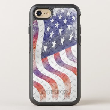 USA Themed Wavy American Flag on Diamond Pattern Metal OtterBox Symmetry iPhone 8/7 Case