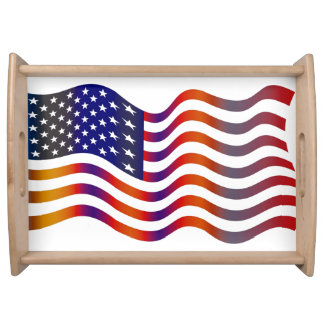 Wavy American Flag Serving Tray