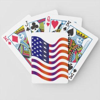 WAVY AMERIICAN SYMBOL FLAG, AMERICAN FLAG GIFT BARAJA DE CARTAS BICYCLE