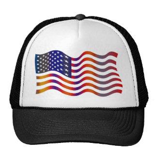 WAVY AMERIICAN SYMBOL FLAG, AMERICAN FLAG GIFT TRUCKER HAT