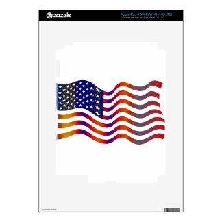 WAVY AMERIICAN SYMBOL FLAG, AMERICAN FLAG GIFT iPad 3 SKINS