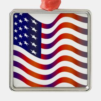 WAVY AMERIICAN SYMBOL FLAG, AMERICAN FLAG GIFT METAL ORNAMENT