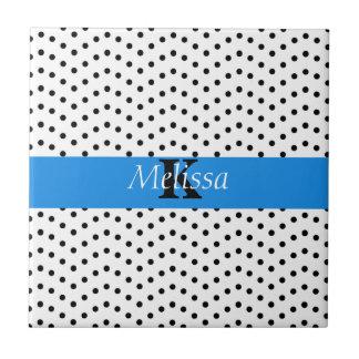 Wavy Black On White Dots Blue Stripe Monogram Tile