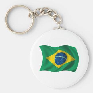 Wavy Brazil Flag Basic Round Button Keychain
