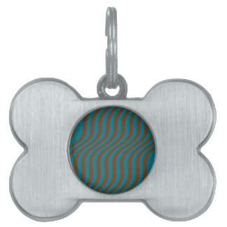 Wavy Brown and Blue Slide Stripes Pet Tag