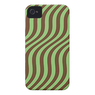 Wavy Brown and Green Slide Stripes iPhone 4 Cases