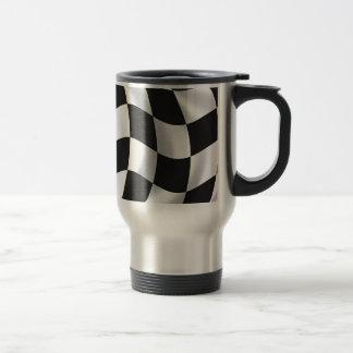 Wavy chequered flag 15 oz stainless steel travel mug