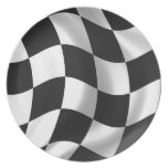 Wavy chequered flag dinner plates