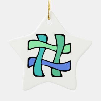 Wavy Colorful # Hashtag Blue Green Social Media Ceramic Ornament