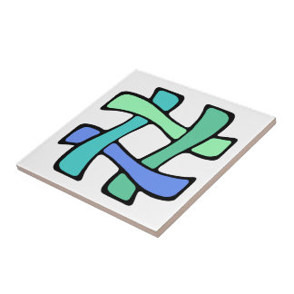 Wavy Colorful # Hashtag Blue Green Social Media Ceramic Tile