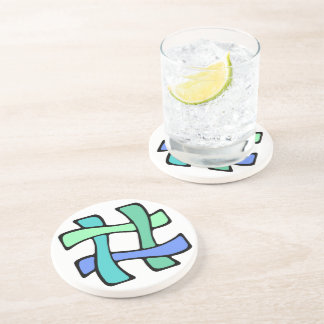 Wavy Colorful # Hashtag Blue Green Social Media Drink Coaster