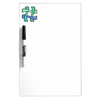 Wavy Colorful # Hashtag Blue Green Social Media Dry-Erase Board