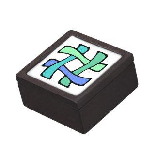 Wavy Colorful # Hashtag Blue Green Social Media Keepsake Box