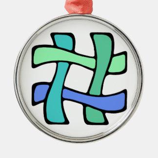 Wavy Colorful # Hashtag Blue Green Social Media Metal Ornament