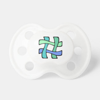 Wavy Colorful # Hashtag Blue Green Social Media Pacifier