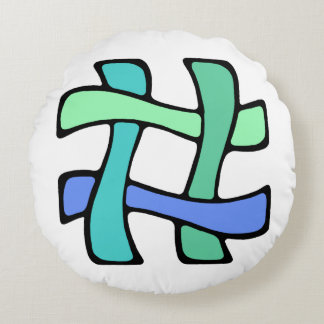 Wavy Colorful # Hashtag Blue Green Social Media Round Pillow