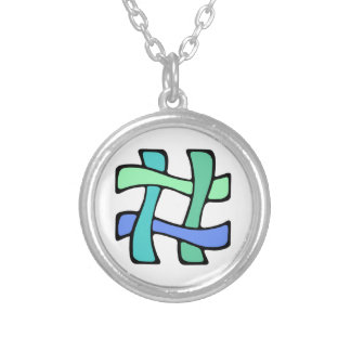 Wavy Colorful # Hashtag Blue Green Social Media Silver Plated Necklace