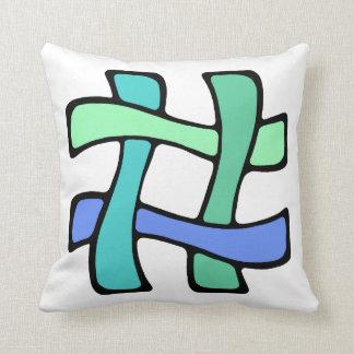 Wavy Colorful # Hashtag Blue Green Social Media Throw Pillow