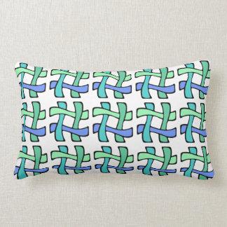 Wavy Colorful # Hashtag Blue Green White Plaid Lumbar Pillow