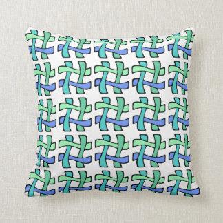 Wavy Colorful # Hashtag Blue Green White Plaid Throw Pillow