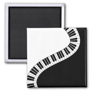 Wavy Curved Piano Keys 2 Inch Square Magnet
