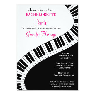 Wavy Curved Piano Keys Bachelorette Party 5x7 Paper Invitation Card