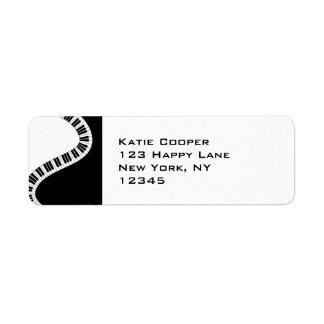 Wavy Curved Piano Keys Return Address Label