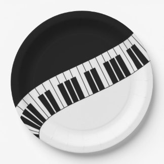 Wavy Curved Piano Keys Paper Plate