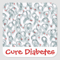 WAVY DIABETES RIBBONS SQUARE STICKER