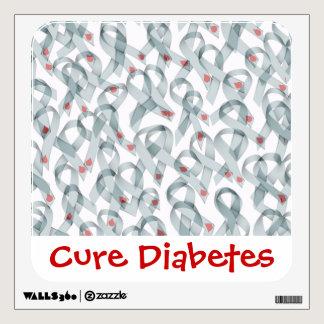 WAVY DIABETES RIBBONS WALL DECAL