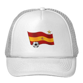 Wavy flag of Spain Star Champs Soccer Ball Gifts Mesh Hat