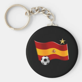 Wavy flag of Spain Star Champs Soccer Ball Gifts Keychain