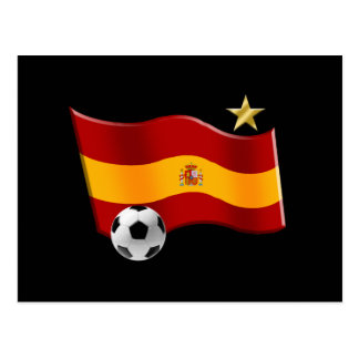 Wavy flag of Spain Star Champs Soccer Ball Gifts Postcard