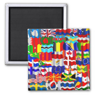 Wavy Flag Wallpaper 2 Inch Square Magnet