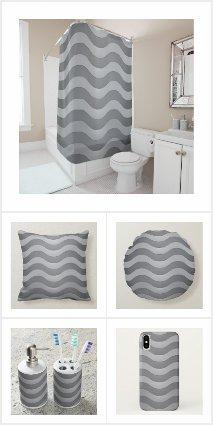 Wavy Gray Stripes - Horizontal